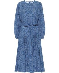 RHODE Midikleid Devi aus Baumwolle - Blau