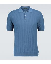 Zanone Pull polo en coton - Bleu