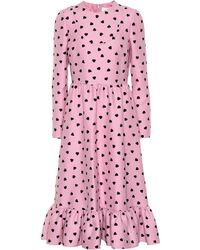 Valentino Heart Print Silk And Wool Dress - Pink