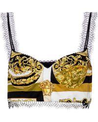 Versace Bralette Barocco Mosaic de seda - Amarillo