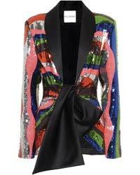 Halpern Satin-trimmed Sequined Jacket - Multicolour