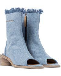 Acne Studios Peep-toe Denim Ankle Boots - Blue