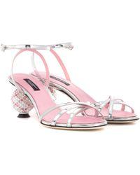 Dolce & Gabbana Crystal-embellished Sandals - Pink