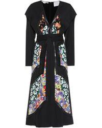 Stella McCartney Vestido midi con parches florales - Negro