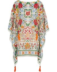 Tory Burch Floral Cotton And Silk Kaftan - White