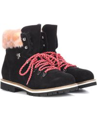 Mr & Mrs Italy Fur-lined Suede Ankle Boots - Black