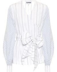 Ganni Top a righe in cotone - Bianco