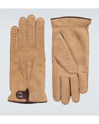 Brunello Cucinelli Handschuhe aus Veloursleder mit Shearling - Braun