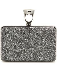 Tom Ford Boxclutch Micro Rock mit Swarovski-Kristallen - Grau
