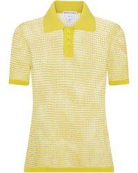Bottega Veneta Cotton-blend Knit Polo Shirt - Yellow