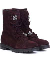 Jimmy Choo Havana Flat Suede Boots - Multicolor
