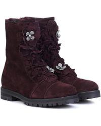Jimmy Choo Havana Flat Suede Boots - Purple