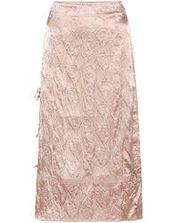 Acne Studios Floral-embossed Satin Midi Skirt - Pink