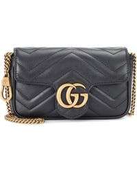 Gucci Gg Marmont Super Mini Schultertasche Aus Gestepptem Leder - Schwarz