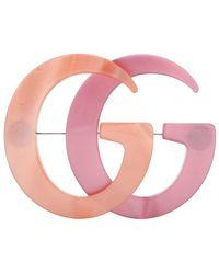 Gucci Spilla Doppia G in resina - Rosa