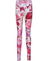 Balenciaga Leggings de algodón estampados - Rojo