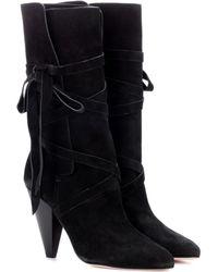Veronica Beard Hall Suede Boots - Black