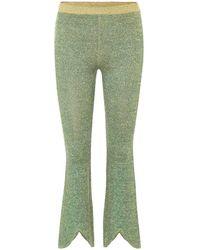 JW Anderson Pantaloni in maglia di lino e lamé stretch - Verde