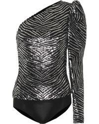 Alexandre Vauthier - Asymmetrical Sequined Bodysuit - Lyst
