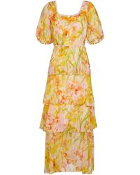Marchesa notte Vestido largo de chifón floral - Amarillo