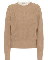 RED Valentino Lace-trimmed Sweater - Natural