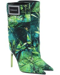 Versace Jungle-print Denim Boots - Green