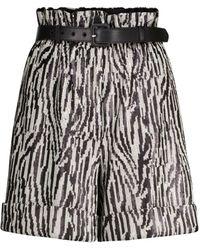 Self-Portrait Sequined Paperbag Shorts - Black