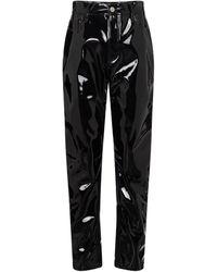 The Attico Pantalon Dua à taille haute en vinyle - Noir