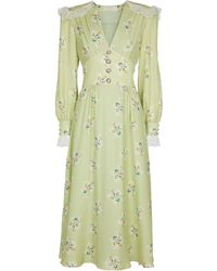 Alessandra Rich Robe midi en soie à fleurs - Vert