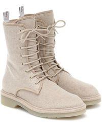 Max Mara Baker Wool-felt Combat Boots - Natural