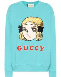 Guccy Embroidered Cotton Sweatshirt Blue