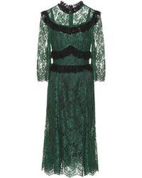 Dolce & Gabbana - Ruffle-trimmed Lace Midi-dress - Lyst