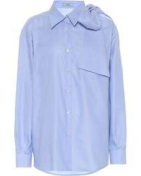 Prada Cold-shoulder Cotton Poplin Shirt - Blue