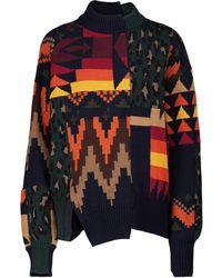 Sacai Patchwork Cotton-blend Jumper - Multicolour