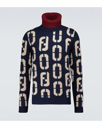 Fendi Intarsia Knitted Turtleneck Sweater - Blue