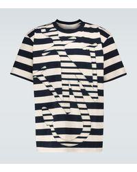 JW Anderson T-shirt a righe in cotone con logo - Blu