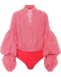 Johanna Ortiz Jicarilla Gingham Poplin Bodysuit - Red