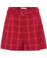 Jonathan Simkhai High-rise Checked Shorts - Red