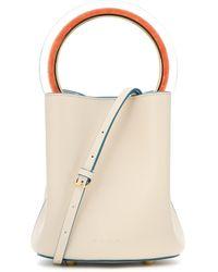 Marni Pannier Leather Bucket Bag - Natural