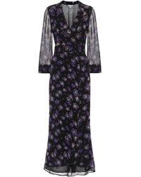 Ganni Floral Georgette Maxi Wrap Dress - Black
