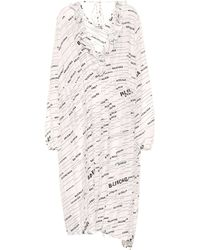 Balenciaga Logo Silk Midi Dress - White