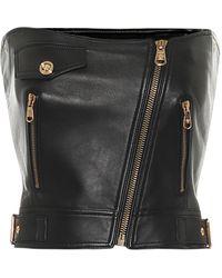 Versace Cropped-Top aus Leder - Schwarz