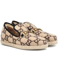 Gucci GG Wool Loafers In Beige - Natural