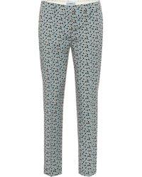 Prada Pantalon imprimé en laine mélangée - Bleu