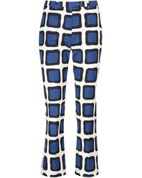 Max Mara Pantalon Fluggi imprimé en coton - Bleu