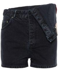 Y. Project Asymmetric High-rise Denim Shorts - Black