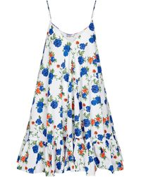 Caroline Constas Laurel Floral Stretch Cotton-blend Minidress - Blue