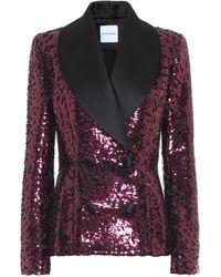 Halpern Sequined Tuxedo Blazer - Pink