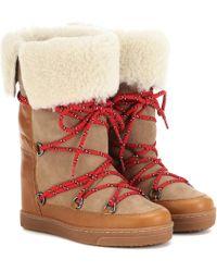 Isabel Marant Ankle Boots Nowly aus Leder - Natur