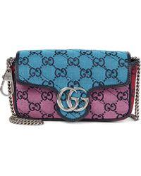 Gucci Schultertasche GG Marmont Super Mini - Blau